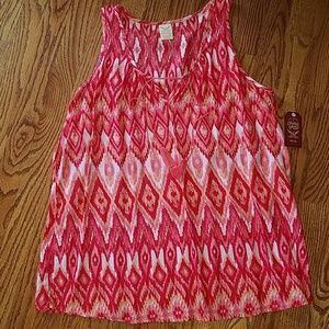Nwt Faded Glory red print tank top blouse xl